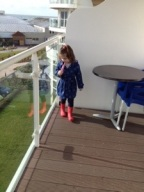 She loved the balcony, I watched her like a hawk but wasn't quick enough when she launched her shoe over the edge...oops!